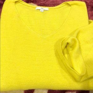 Bright yellow dolman sweater